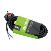 LUMii UK Power Lead - UK Plug to Crimped Bare Wires (3 x 0.75mm Strand) - 3m