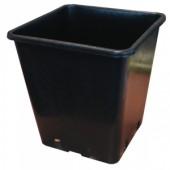 Square Pot 25cm (11L) - Easy draining black plastic square pot.